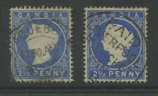 GAMBIA QV EMBOSSED 2 1/2d...PAQUEBOT MARITIME SHIP POSTMARKS