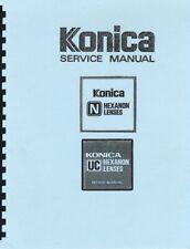 Konica N Hexanon / UC Hexanon Lenses Service & Repair Manual: 2 Vol Set Reprint