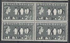 SOUTH GEORGIA 1963 QEII PENGUINS 21/2D BLOCK MNH **