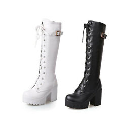 Womens Punk Chunky Boots Lace Up Platform high Block Heel Knee high Riding Boots