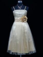 Cherlone Ivory Prom Ball Evening Bridesmaid Wedding Formal Gown Dress Size 14-16