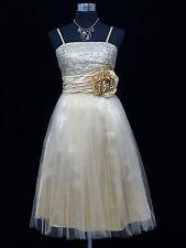 Cherlone Ivory Prom Ball Evening Bridesmaid Wedding Formal Gown Dress Size 14-16