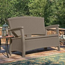 Garden Sofa Bench Yard Storage Patio Wicker Resin Furniture Dark Taupe Loveseat