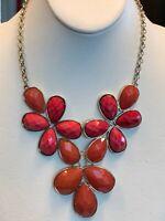 Signed Jules Statement Necklace  Watermelon Orange Rhinestone 16 Inch Gold chain