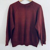 Vintage 70s 80s Distressed Paper Thin Soft Red Heather Raglan Sweatshirt L/XL