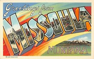 Large Letter postcard Greetings from Missoula Montana