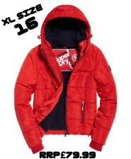NEW RRP£79.99 XL SIZE 16 WOMENS SUPERDRY SPORTS PUFFER JACKET BRIGHT RED