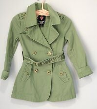Pepe Jeans London girls trench coat size Medium 10/12  Green Belted