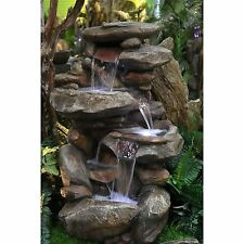 Waterfall Fountain Outdoor Indoor Stone Rock Garden Patio Backyard LED New