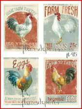 ~ Vintage French Country Home Farm Poultry Rooster 4 Prints on Fabric FB 415 ~