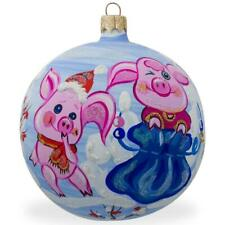 Two Pigs with Gifts in Winter Glass Ball Christmas Ornament 3.25 Inches