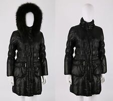 ADRIENNE LANDAU BLACK RUCHED PUFFER JACKET COAT REMOVABLE RACOON FUR HOOD SZ S
