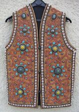 Gilet artisanal ethnique - inde - bouddhisme - Turquoise - Argent - Cauri - 1992