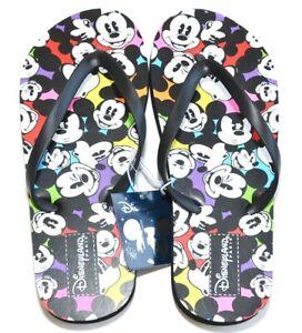 Disneyland Paris Mickey Mouse multi faces Flip flops size XL 8/9 - 41/42