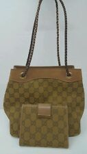 Authentic Gucci GG Logo Canvas Leather tote bag and Wallet, Italy,With  Dustbag