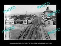 OLD POSTCARD SIZE PHOTO OF ALTOONA PENNSYLVANIA 17th ST RAILROAD TOWER c1890