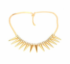 Gold Spike Crystal Cascade Drop Necklace with Extension
