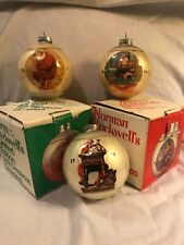 Vintage 70's Norman Rockwell Limited Edition Ornament Set Of 3 Glass Christmas