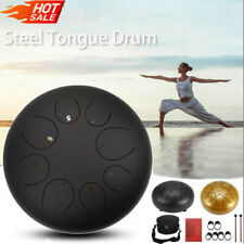 More details for steel tongue drum 8 notes hand pan drum percussion with drumsticks carrying bag
