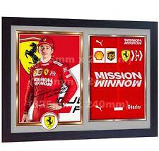 Charles Leclerc Ferrari sebastian vettel signed autographed photo print FRAMED