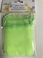 New Set Of 8 Oh Baby Lime Green 3�x4� Organza Bags