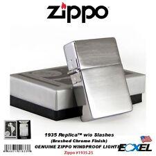 Zippo #1935.25 1935 Replica Lighter, w/o Slashes, Brushed Chrome, Windproof