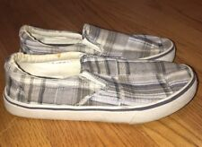 MERONA Top Sider Gray PLAID Deck PENNY LOAFERS Canvas Boat Shoes Mens Size 8.5 #