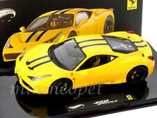 HOT WHEELS ELITE BLY46 FERRARI 458 ITALIA SPECIALE 1/43 DIECAST MODEL CAR YELLOW