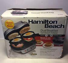 Hamilton Beach Dual Breakfast Sandwich Maker Nonstick English Muffin Egg Open Bx