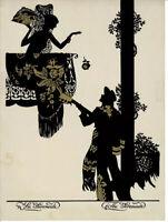 The Serenade Spanish Art Deco Black & Gold Metallic Print Sillouette Vintage