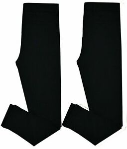 Pack of 2 Cotton Rich Girls Black Leggings Ideal for School Casual Party Regular