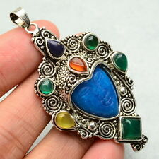 LOVELY GODDESS PENDANT GENUINE BLUE & PURPLE JADE CARNELIAN AGATE SILVER AMULET