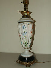 Antique Elegant Victorian Bohemian Art Glass Hand Painted Floral Table Lamp