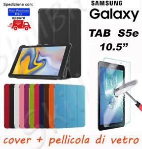 CUSTODIA COVER STAND PELLE PER SAMSUNG GALAXY TABLET TAB S5e S5 E 10.5'' + VETRO