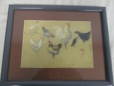 FRAMED 1890 SIGNED AMY WELL PASTEL DRAWING OF ROOSTER & HENS