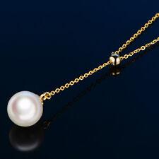 ed6707813b83 Auténtico 18Ct Oro Amarillo o Eslabón Cadena con 7-7.5mm Collar de Perlas  45cm