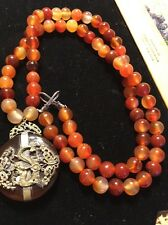 """Chinese Agate And Silver Dragon And 32""""long Carnelian Bead Necklace"""
