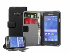 Wallet BLACK Leather Flip Case Cover Pouch For Samsung Galaxy Ace 4 SM-G357