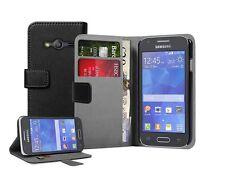 Negro Bolso Funda Carcasa para Galaxy Ace 4 SM-G357 - Billetera Abatible Estuche Cubierta