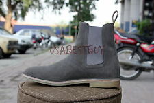 New Pure Handmade Mens Grey Chelsea Suede Leather Boots with Crepe Sole