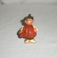 Miniature Country Boy in Pumpkin Halloween Costume Resin Figurine Jack-O-Lantern