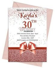 PERSONALISED LADIES BIRTHDAY PARTY INVITATIONS INVITES ANY AGE WOMENS ROSE GOLD