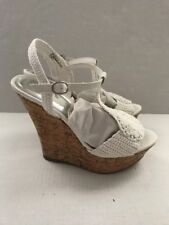 BAMBOO Women's White Strappy Platform Sandals Cork Heels Crochet & Leather Sz 6