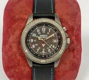 Vintage DAKOTA Moon Glow Electro Luminescent Dial Black Ion SS 330ft Men's Watch