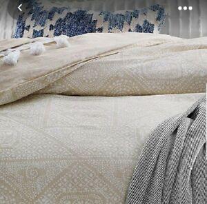 Lucky Brand Home ~ Bali Batic FULL / QUEEN Duvet Cover & Shams Set Tan Cotton