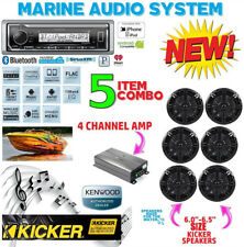 KENWOOD MARINE BOAT BT KMR-M322BT RADIO + 6 X KICKER MARINE SPEAKERS + 600W AMP