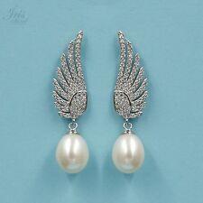 White Pearl Freshwater CZ 925 Sterling Silver Drop Dangle Earrings 0329 New Wing