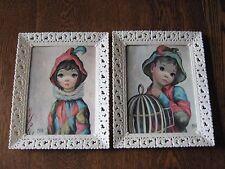vintage big eyed girl & boy framed art print  harlequin Maio set of two NICE