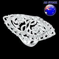 Wholesale 925 Sterling Silver Filled Oval Filigree Flower Band Ring Wedding