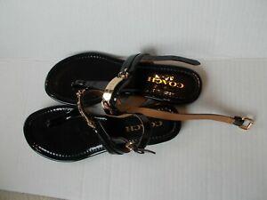 Coach black patent leather thong sandals, signature on gold hardware size 8B new